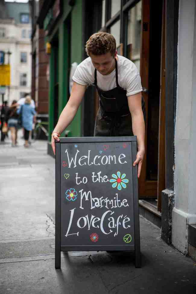 Marmite  Marmite pop up Love cafe in Soho, London. July 22 2015.